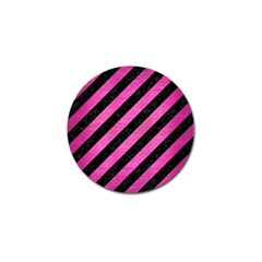 Stripes3 Black Marble & Pink Brushed Metal (r) Golf Ball Marker by trendistuff