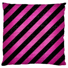 Stripes3 Black Marble & Pink Brushed Metal (r) Large Flano Cushion Case (one Side) by trendistuff