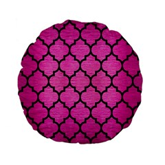 Tile1 Black Marble & Pink Brushed Metal Standard 15  Premium Flano Round Cushions by trendistuff