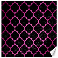 Tile1 Black Marble & Pink Brushed Metal (r) Canvas 16  X 16   by trendistuff