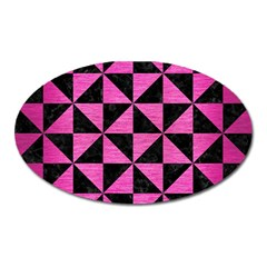 Triangle1 Black Marble & Pink Brushed Metal Oval Magnet by trendistuff