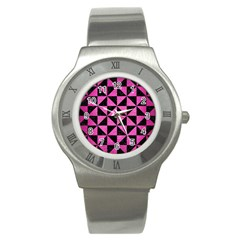 Triangle1 Black Marble & Pink Brushed Metal Stainless Steel Watch by trendistuff