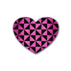Triangle1 Black Marble & Pink Brushed Metal Rubber Coaster (heart)  by trendistuff