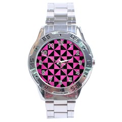 Triangle1 Black Marble & Pink Brushed Metal Stainless Steel Analogue Watch by trendistuff