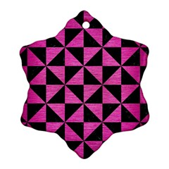 Triangle1 Black Marble & Pink Brushed Metal Snowflake Ornament (two Sides) by trendistuff