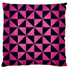 Triangle1 Black Marble & Pink Brushed Metal Large Flano Cushion Case (one Side) by trendistuff