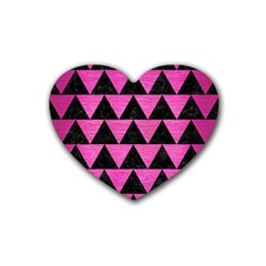 Triangle2 Black Marble & Pink Brushed Metal Heart Coaster (4 Pack)  by trendistuff