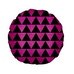 Triangle2 Black Marble & Pink Brushed Metal Standard 15  Premium Flano Round Cushions by trendistuff