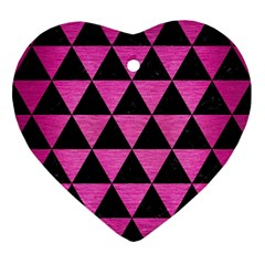 Triangle3 Black Marble & Pink Brushed Metal Ornament (heart) by trendistuff