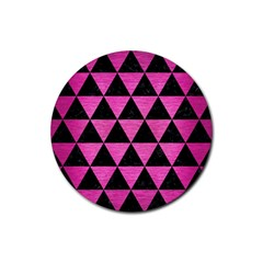 Triangle3 Black Marble & Pink Brushed Metal Rubber Coaster (round)  by trendistuff