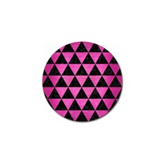 Triangle3 Black Marble & Pink Brushed Metal Golf Ball Marker by trendistuff