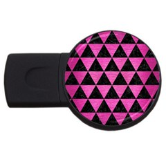 Triangle3 Black Marble & Pink Brushed Metal Usb Flash Drive Round (2 Gb) by trendistuff