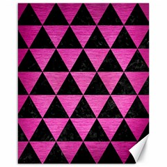 Triangle3 Black Marble & Pink Brushed Metal Canvas 16  X 20   by trendistuff