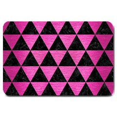 Triangle3 Black Marble & Pink Brushed Metal Large Doormat  by trendistuff