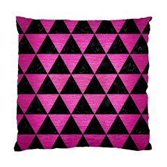 Triangle3 Black Marble & Pink Brushed Metal Standard Cushion Case (two Sides) by trendistuff