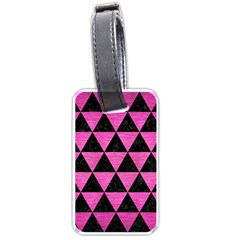 Triangle3 Black Marble & Pink Brushed Metal Luggage Tags (one Side)  by trendistuff