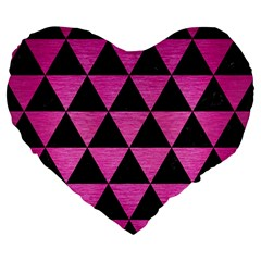 Triangle3 Black Marble & Pink Brushed Metal Large 19  Premium Heart Shape Cushions by trendistuff