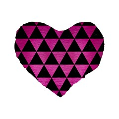 Triangle3 Black Marble & Pink Brushed Metal Standard 16  Premium Flano Heart Shape Cushions by trendistuff