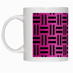 Woven1 Black Marble & Pink Brushed Metal White Mugs by trendistuff