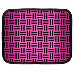 Woven1 Black Marble & Pink Brushed Metal Netbook Case (large) by trendistuff