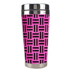 Woven1 Black Marble & Pink Brushed Metal Stainless Steel Travel Tumblers by trendistuff