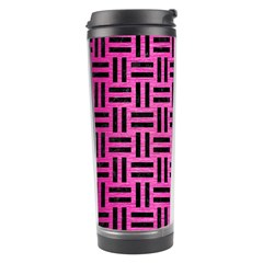 Woven1 Black Marble & Pink Brushed Metal Travel Tumbler by trendistuff