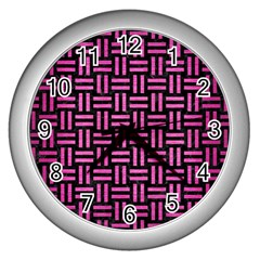Woven1 Black Marble & Pink Brushed Metal (r) Wall Clocks (silver)  by trendistuff