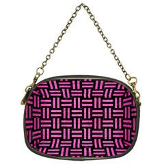 Woven1 Black Marble & Pink Brushed Metal (r) Chain Purses (one Side)
