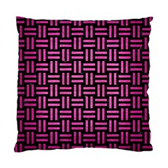 Woven1 Black Marble & Pink Brushed Metal (r) Standard Cushion Case (one Side) by trendistuff
