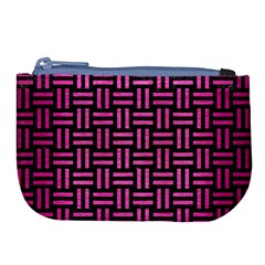 Woven1 Black Marble & Pink Brushed Metal (r) Large Coin Purse by trendistuff