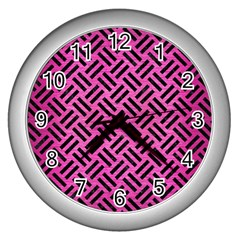 Woven2 Black Marble & Pink Brushed Metal Wall Clocks (silver)  by trendistuff