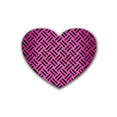 Woven2 Black Marble & Pink Brushed Metal Heart Coaster (4 Pack)  by trendistuff