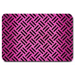Woven2 Black Marble & Pink Brushed Metal Large Doormat  by trendistuff