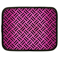 Woven2 Black Marble & Pink Brushed Metal Netbook Case (large) by trendistuff