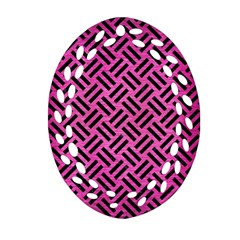 Woven2 Black Marble & Pink Brushed Metal Ornament (oval Filigree) by trendistuff