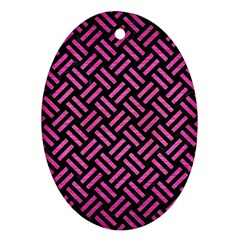 Woven2 Black Marble & Pink Brushed Metal (r) Oval Ornament (two Sides)