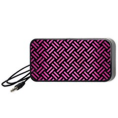 Woven2 Black Marble & Pink Brushed Metal (r) Portable Speaker by trendistuff