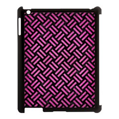 Woven2 Black Marble & Pink Brushed Metal (r) Apple Ipad 3/4 Case (black) by trendistuff