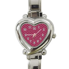 Brick1 Black Marble & Pink Denim Heart Italian Charm Watch by trendistuff