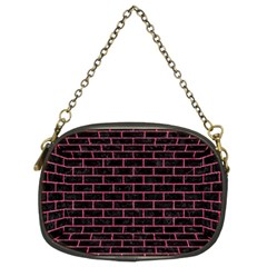 Brick1 Black Marble & Pink Denim (r) Chain Purses (two Sides)  by trendistuff