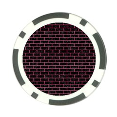 Brick1 Black Marble & Pink Denim (r) Poker Chip Card Guard (10 Pack) by trendistuff