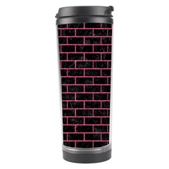 Brick1 Black Marble & Pink Denim (r) Travel Tumbler by trendistuff
