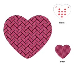 Brick2 Black Marble & Pink Denim Playing Cards (heart)  by trendistuff