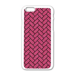 Brick2 Black Marble & Pink Denim Apple Iphone 6/6s White Enamel Case