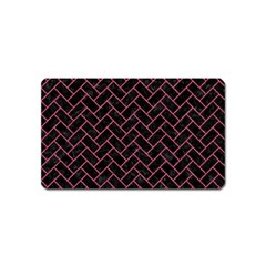 Brick2 Black Marble & Pink Denim (r) Magnet (name Card) by trendistuff