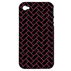 Brick2 Black Marble & Pink Denim (r) Apple Iphone 4/4s Hardshell Case (pc+silicone) by trendistuff