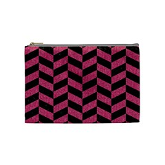Chevron1 Black Marble & Pink Denim Cosmetic Bag (medium)  by trendistuff