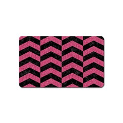Chevron2 Black Marble & Pink Denim Magnet (name Card) by trendistuff