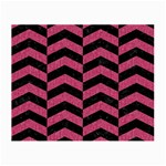 CHEVRON2 BLACK MARBLE & PINK DENIM Small Glasses Cloth (2-Side) Front