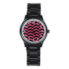 Chevron2 Black Marble & Pink Denim Stainless Steel Round Watch by trendistuff